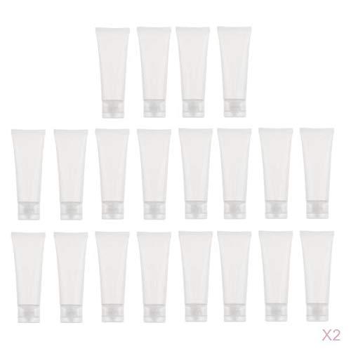 Bonarty 40 Pièces Tubes Vides Conteneurs en Plastique pour Stockage Crème Shampooing Lotion Gel Douche - 50ML