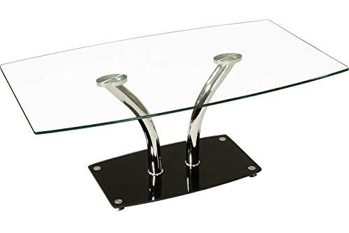 ** WERKS-ABVERKAUF ** Boston Couchtisch mit Chromsäulen in V-Form. Tischplatte aus gehärtetem Glas. Sockelplatte in Schwarzglas mit Boden-Abstandshalter. Klarglas Größe: 110 x 65 cm Höhe: 45cm