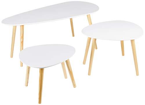 Dolmen - Juego de 3 mesas Bajas Nido escandinavas, Color Blanco