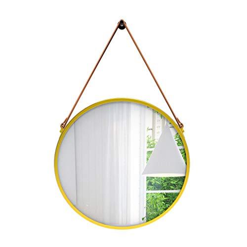 ZHTY Cinturón Chapado en Oro Baño Espejo Redondo Colgante de Pared Espejo Decorativo