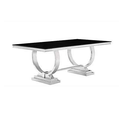 Coaster Dining Table, Stainless Steel In Chrome