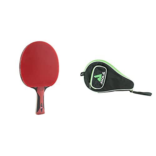 JOOLA Tischtennisschläger ROSSKOPF Attack Tischtennis-Schläger ITTF Zulassung für Fortgeschrittene Spieler-5fach verleimtes Spezialsperrholz, 1,8 MM & Tischtennishülle TT-Hülle Pocket, Green