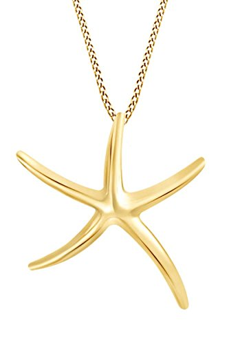 AFFY Starfish Pendant Necklace in 14K Yellow Gold Over Sterling Silver