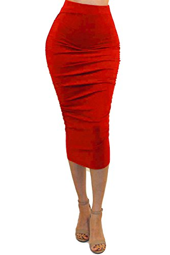 Vivicastle Women's Ruched Frill Ruffle High Waist Pencil Mid-Calf Skirt (1red, red, Medium)