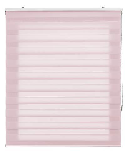 Blindecor LIRA - Estor enrollable de doble capa Noche y Día, Rosa, 180 x 180 cm, ancho x largo