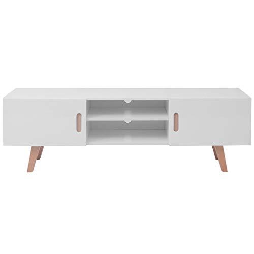 Tidyard Mesa para TV Diseño Moderno Aparador para TV Mueble TV Salón Mesa MDF 150x35x48,5 cm Blanco Brillante