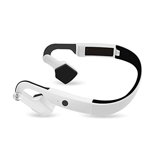 SPNEC Foldable Bluetooth Headphones Wireless Neckband Headset with Retractable Earbuds, Sports Sweatproof Noise Cancelling Stereo Earphones with Mic (Black) (Color : White)