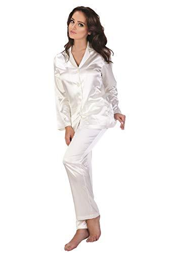FOREX Lingerie eleganter Satin-Pyjama Schlafanzug Hausanzug im klassischen Still, perlmutt, Gr. L