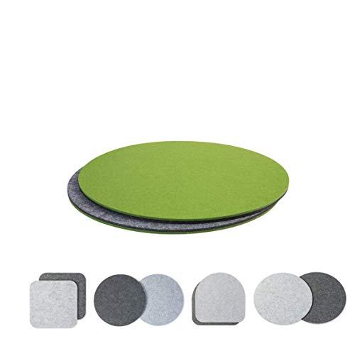 luxdag Sitzkissen Polster zweifarbig 2er Set (Form und Farbe wählbar) für Stühle, Bänke, Hocker   Stuhlkissen aus Filz