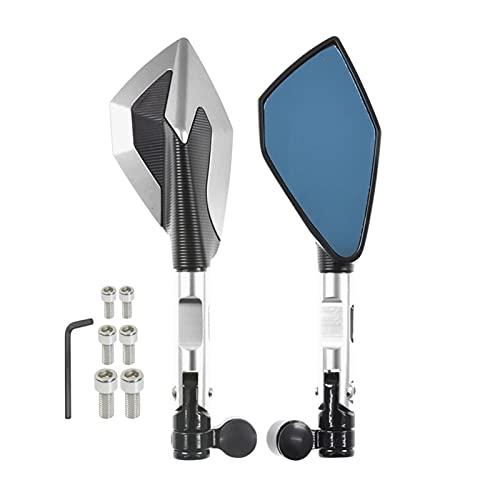 Universial - Espejos retrovisores para motocicleta de 8 mm y 10 mm para Honda Suzuki para Yamaha Kawasaki Scooter Ducati (color plateado)