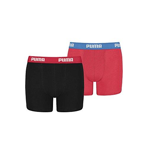 Puma 2er-Pack 360 Logo Jungen Boxershorts, Rot/Schwarz 11 bis 12 Jahre