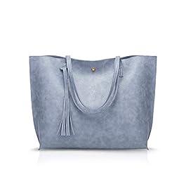 NICOLE&DORIS Femme Sac Cabas Grand Sac à Main Sac fourre-Tout en Cuir PU Sac à bandoulière Mode Sac à Main Bleu