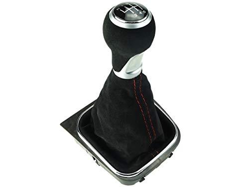 Do!LED Schaltknauf Schaltsack Schaltmanschette Rahmen 6 Gang aus Alcantara - rote Naht - kompatibel für VW Golf 5 6   Jetta V + VI   EOS   Scirocco 3