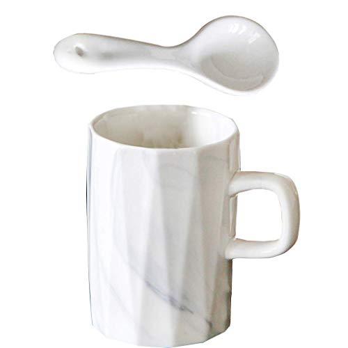 Tubayia Taza de cerámica de 350 ml, taza de café, taza de té, taza de agua con cuchara, para café, restaurante, hogar (líneas marmoladas)