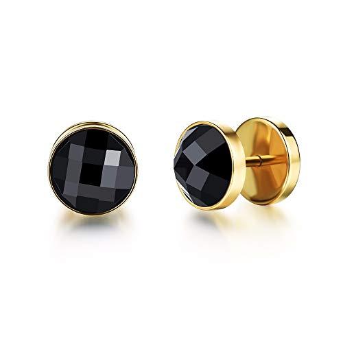 1 par de hip hop rock negro piedra pendientes oro color 316l acero inoxidable hombres stud pendiente joyería drop shipping
