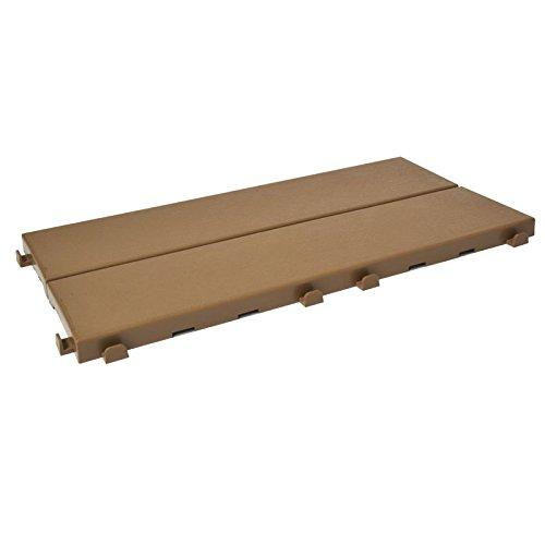 Kunststof tegels met houtlook, 37,7 x 18,6 cm, voor binnen en buiten, veelzijdig en zelfvergrendelend. Beige