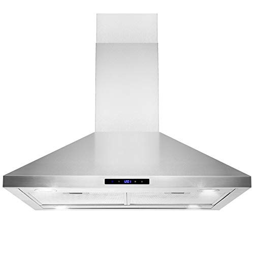 "Golden Vantage Island Mount Range Hood –36"" Stainless-Steel Hood Fan for Kitchen – 3-Speed Professional Quiet Motor – Premium Touch Control Panel – Minimalist Design – Mesh Filters & LED Lights"