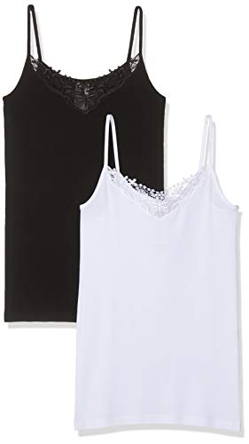ONLY Damen onlKIRA LACE Singlet 2 Pack Top, Schwarz (Black Pack: Black and White), 34 (Herstellergröße: XS) (2er