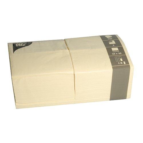Papstar Servietten / Tissueservietten creme (250 Stück) 3-lagig, 1/8-Falz, 33 x 33 cm, Vorratspackung für Haushalt, Gastronomie oder Feste, in der großen 250er Packung, #84579