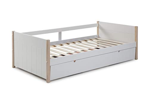 ambiato Ausziehbett Kiara Weiß + Pinie mit Gästebett & Lattenrost Kinderbett Tagesbett Gästebettauszug
