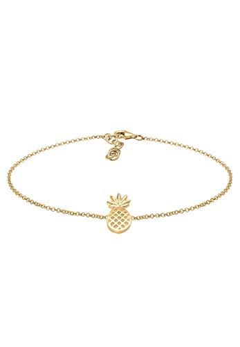 Elli Fußschmuck Damen Ananas Pineapple Tropical in 925 Sterling Silber vergoldet