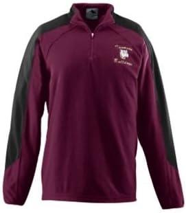 Adult Micro Fleece Half-Zip Pullover - MAROON AND BLACK- MEDIUM