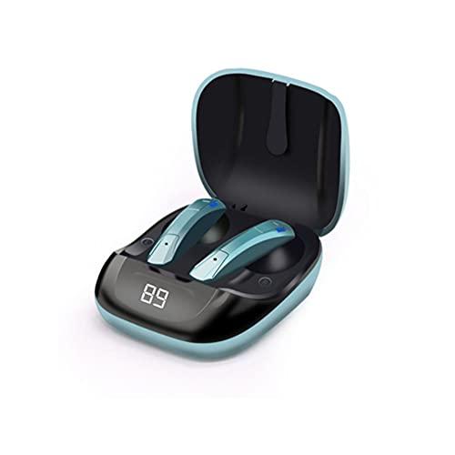Lessjie Auriculares Inalámbricos Auriculares Bluetooth Premium Fidelity Sound Calidad Caja De Carga Inalámbrica Digital LED Inteligencia Pantalla Auricular De Micrófono Incorporado,Verde