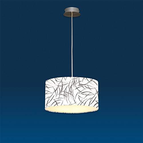 LUX de lámpara Lámpara colgante Nero África Blanco y Negro Bauhaus iluminación de altura regulable Níquel Satinado Luz durchl ässige pantalla resistente-Lámpara de techo colgante lámpara Ø60cm