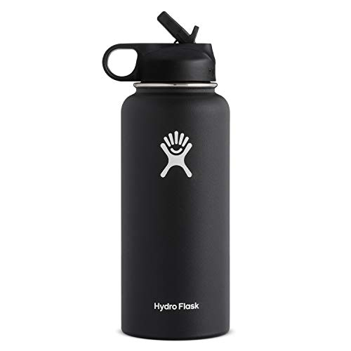 Hydro Flask Vacuum Insulated Stainless Steel Water Bottle Wide Mouth with Straw Lid (Black, 40-Ounce)