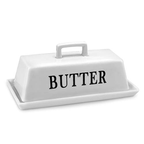 Ceramic Butter Dish, BaoFull Large Porcelain Butter Holder with Lid, White