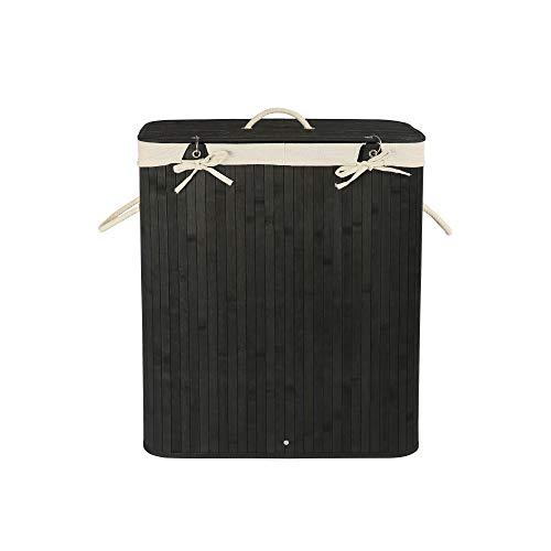 Edaygo Wäschekorb Wäschesammler Bambus mit Deckel, 100 Liter, eckig, schwarz