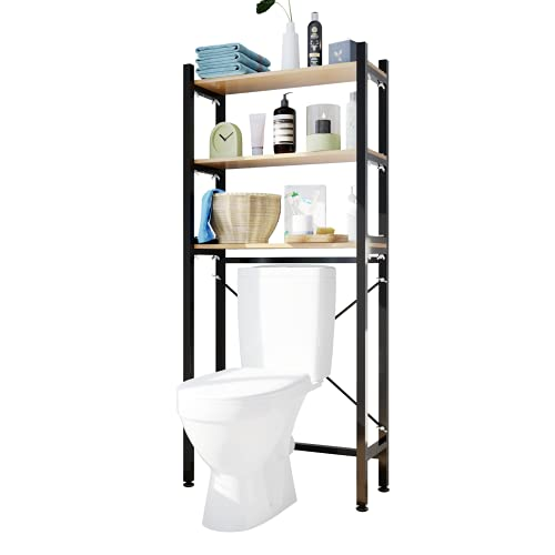 UDEAR 3 Shelf Bathroom Space Saver,Over The Toilet Rack,Bathroom Corner Stand Storage Organizer Accessories,Over The Washing Machine,Bathroom Tower Shelf,Space Saver,Black