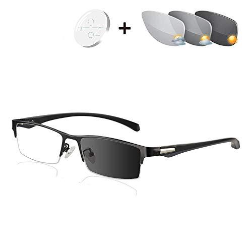 Progressieve Multifocale Leesbril, Mannelijke Zonnebril Transition Fotochromische UV400 Lenzen Voor Reader Nabije En Verre Zicht Dioptrie,Black,+1.50