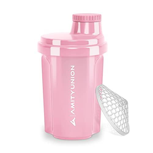 """Protein Shaker 300 ml """"Heaven"""" auslaufsicher, BPA frei mit einklickbarem Sieb & Skala für Cremige Whey Shakes, Gym Fitness Becher für Isolate & Sport Konzentrate, Eiweiß Shaker, Original in Coral Pink"""