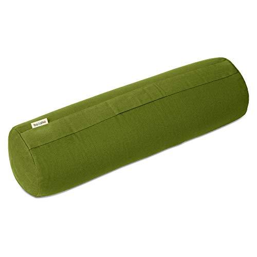 basaho Bolster Yoga | Algodón Orgánico (Certificación Gots) | Cáscara de Trigo Sarraceno | Funda Extraíble Lavable (Hoja)