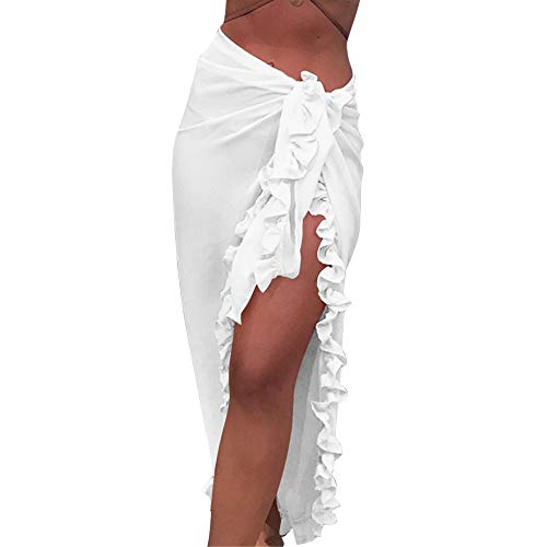 Shujin Pareo de gasa para mujer, pareo, vestido de playa, toalla de playa, cubierta de bikini, falda envolvente, vestido de playa, bufanda con volantes Blanco Talla única