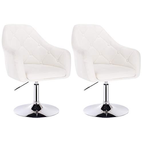 WOLTU® 2er Set Barsessel Loungesessel mit Arm- und Rückenlehne, stufenlose Höhenverstellung, drehbar, Kunstleder, Weiß BH104ws-2