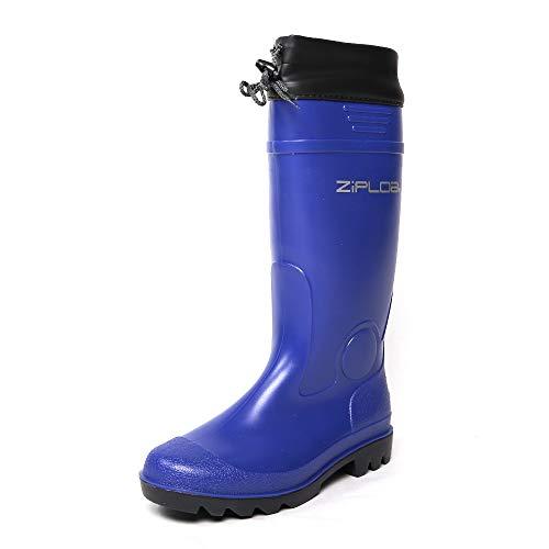 [コーコス信岡] 長靴 PVC 防水 ロング カバー付き ZIPLOA メンズ ネイビー 26.5~27.0 cm 3E