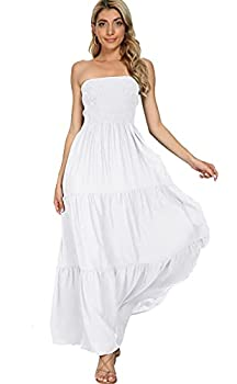 Panlido Women s Summer Boho Casual Maxi Long Dress Solid Color Strapless Party Beach Dress  M White