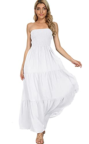 Panlido Women's Summer Boho Casual Maxi Long Dress Solid Color Strapless Party Beach Dress (S, White)