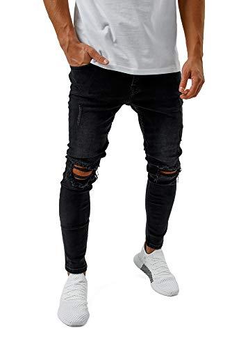 Burocs Herren Destroyed Jeans Skinny Fit Stretch Dunkelblau Blau Schwarz BR1512, Farbe:Schwarz, Hosengröße:W28 L32
