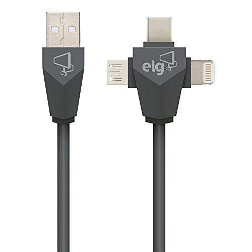 Cabo 3 em 1 Lightning + USB-C + Micro USB ELG