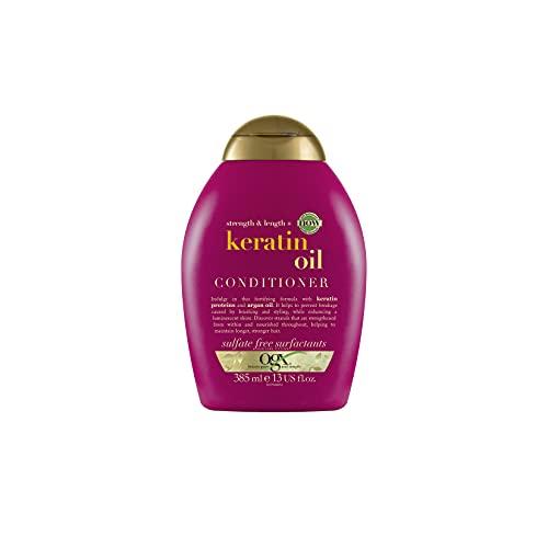 OGX Anti-Breakage + Keratin Oil Conditioner (385 ml), kräftigende Anti-Haarbruch Haarspülung mit Keratin Proteinen und Arganöl, Haarpflege Spülung ohne Silikone, Sulfate und Parabene