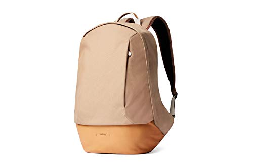 Bellroy Classic Backpack - Premium (Leather Backpack, Comfort Shoulder Straps, Holds 15 Inch Laptop) - Desert