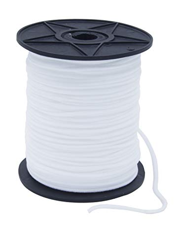 Elastic Bands for Sewing 1/8 inch Width Premium Quality White Heavy Stretch Knit Elastic Band, Elastic Cord, Elastic Rope for Mask, DIY, Arts and Crafts (White, 100Y)