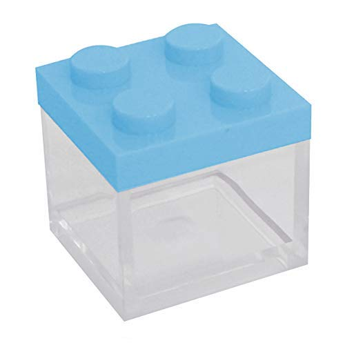 Omada Design set 24pz scatolina tipo mattoncino in plastica trasparente con tappo colorato 5x5x5 cm,100% made in Italy