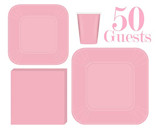Serves 50 | Complete Party Pack | Light Pink Square Plates | 9' Dinner Square Paper Plates | 7' Dessert Square Paper Plates | 9 oz Cups | 3 Ply Napkins | Baby Shower ,office parties, birthday parties, festivals, Light Pink Party Theme