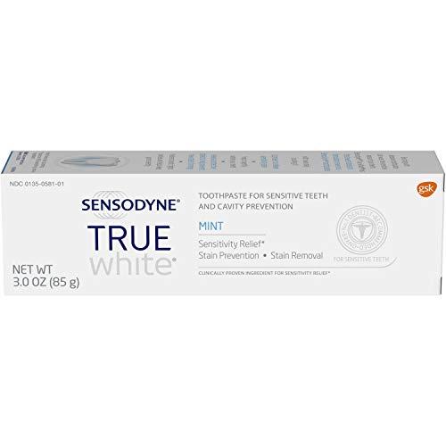 Sensodyne True White Sensitive Teeth Whitening Toothpaste, Stained Teeth and Sensitive Teeth Treatment, Mint - 3 Ounces