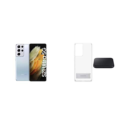 Samsung Galaxy S21 Ultra 5G, Quad-Kamera, Infinity-O Display, 512 GB Speicher, leistungsstarker Akku, Phantom Silver S21 Ultra Clear Standing Cover transparent inkl. Wireless Charger Pad P1300