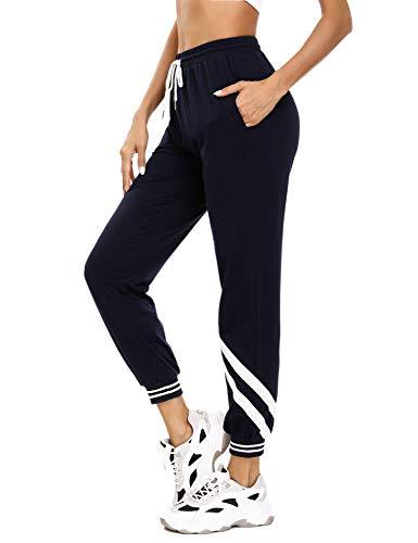 iClosam Pantaloni Tuta Donna, Pantaloni Sportivi Donna Vita Alta Pantaloni Cotone Tuta Donna per Allenamento Jogging Fitness Blu Navy L